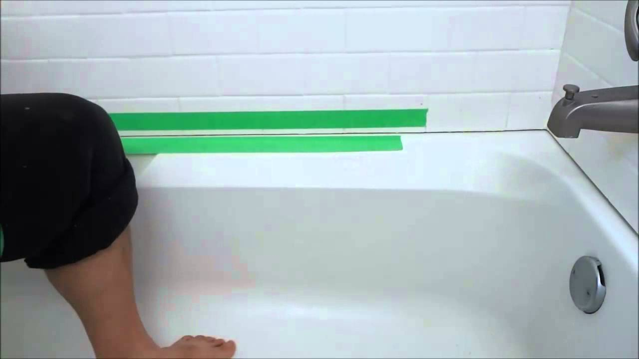 Awesome Painting A Bathtub Big Bathtub Restoration Companies Rectangular Can A Bathtub Be Painted Can You Paint A Porcelain Bathtub Young Shower Refinishing Cost GrayRefinish Clawfoot Tub Cost How To Get A SUPER SMOOTH Caulking Line (Using Tape)   YouTube
