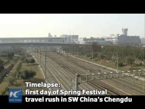 Timelapse: first day of China's Spring Festival travel rush in SW China
