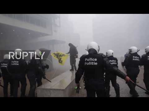 Belgium: Water cannons unleashed at UN migration pact protest in Brussels