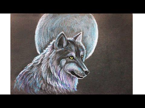 Уроки рисования. Как нарисовать ВОЛКА на фоне луны мелками Erich Krause how to draw a wolf