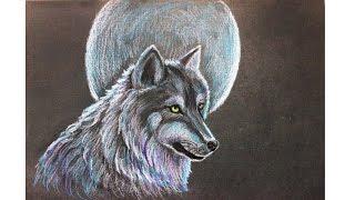 Уроки рисования. Как нарисовать ВОЛКА на фоне луны мелками Erich Krause how to draw a wolf(Видео урок для детей как нарисовать волка цветными мелками Узнайте больше о материалах для детского творч..., 2016-05-06T05:05:38.000Z)