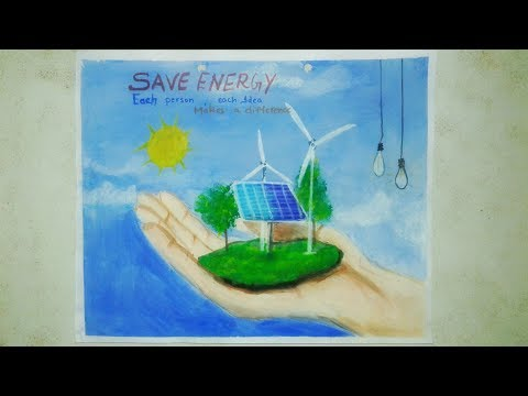 Poster on energy conservation  |Save energy drawings|how to paint save energy poster