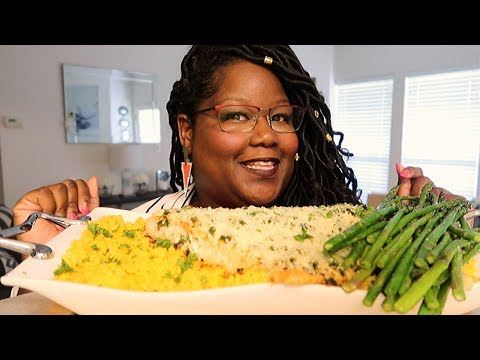 My Smackalicious Sauce Is Gone. Parmesan Crusted Salmon Asparagus and Spanish Rice Recipe + Mukbang
