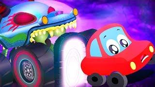 Little Red Car Vs Haunted House Monster Truck | Car Cartoons For Kids