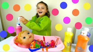 Baby Alive and Rainbow Color Bath - Shopkins Colour Challenge Kids Toys
