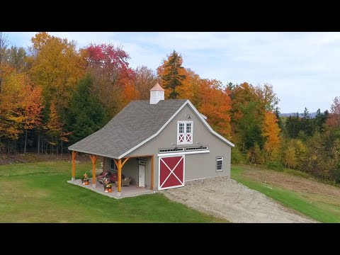 Vermont Post & Beam Carriage Barn Fly-Over