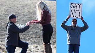 Dad Holds 'Say No' Sign as Daughter's Boyfriend Proposes