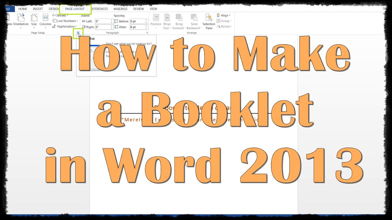 How To Make A Booklet In Word 2013   YouTube  Booklet Template
