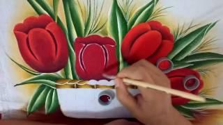 Ensinando a pintar tulipas vermelhas com Lia ribeiro