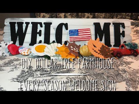 DIY Dollar Tree Farmhouse Every Season Welcome Sign