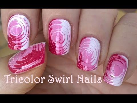 TOOTHPICK NAIL ART #2 / Easy Tricolor SWIRL NAILS Tutorial ...