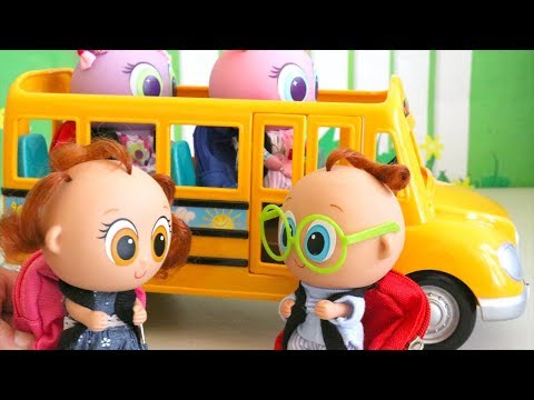 SWTAD Nerlie Preschool First Day Toys and Dolls Fun for Kids with Toy Toddlers Riding School Bus