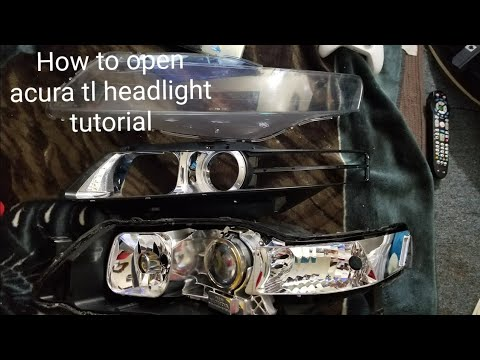 HOW TO CLEAR AND OPEN ACURA TL HEADLIGHT REPLACE PROJECTOR LENSE TUTORIAL