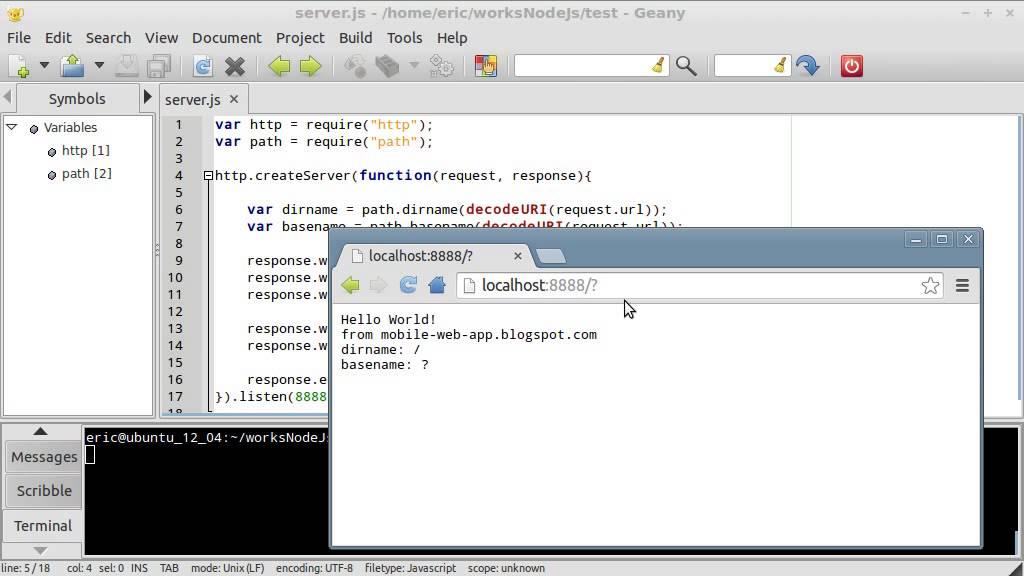 Node js example - retrieve dir and base using path module