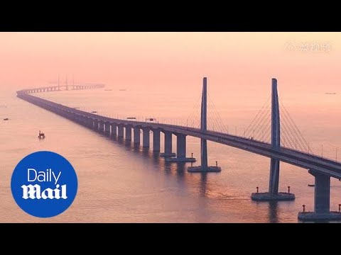 The 34-mile-long Zhuhai-Macau bridge opens in Hong Kong