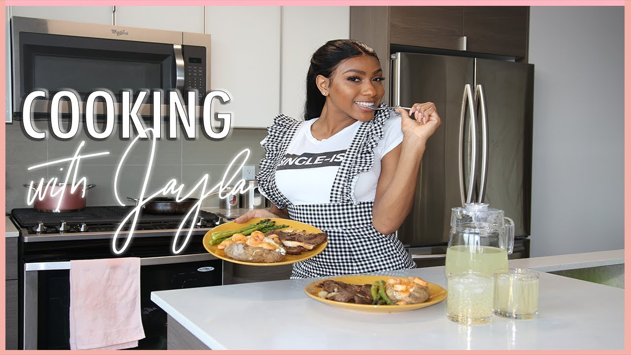 COOK WITH ME! HOW TO MAKE STEAK, LOADED SHRIMP POTATOES, AND ASPARAGUS!