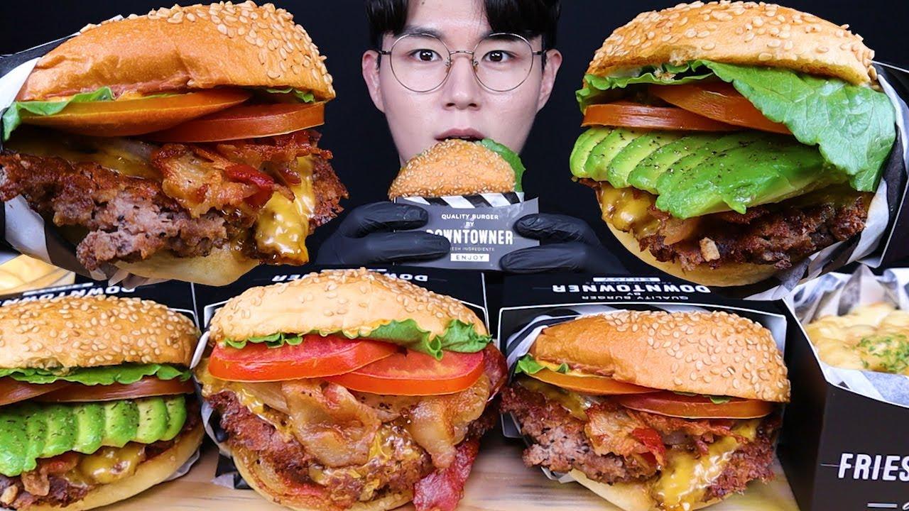 수제버거 아보카도 베이컨 치즈버거 먹방ASMR MUKBANG CHEESEBURGERS & FRENCH FRIES 手作りバーガー フライドポテト eating sounds