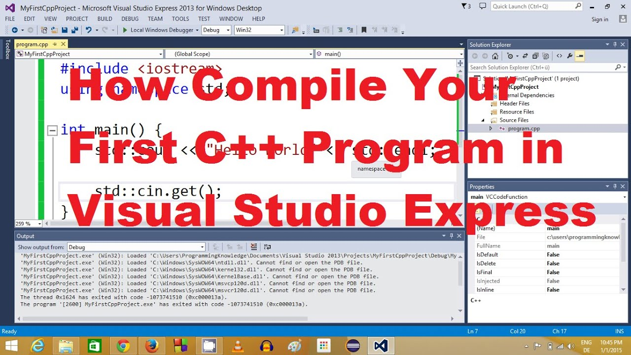 How To Compile Your First C Program In Visual Studio