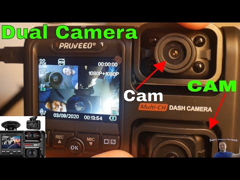 Pruveeo D30H Dash Cam with Infrared Night Vision and WiFi, Dual 1080P Front and Inside, Dash Camera