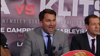 NO APPLES 'N' PEARS HERE! - EDDIE HEARN DELIVERS EPIC POWER SPEECH AHEAD OF JOSHUA v KLITSCHKO
