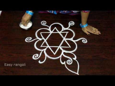easy free hand rangoli designs || simple freehand kolam designs || easy muggulu designs