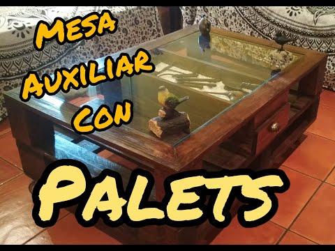 Mesa auxiliar rustica de palets youtube - Mesas de palets ...