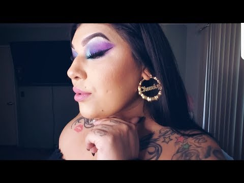 Purple blue ombre makeup tutorial an outfit of the day