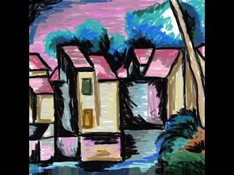 Andre Derain-Houses on the water front (1910) Reproduction
