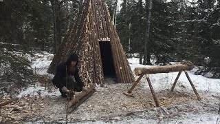 Solo Winter Bushcraft Shelter Build - Building a Log Home in the Canadian Wilderness (Pt. 4/4)