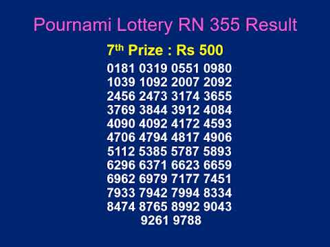 Pournami lottery RN 355 result 2 09 2018-Kerala-Lottery