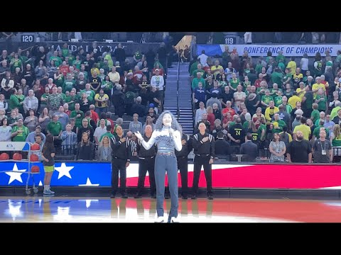 15-Year-Old Ayaka Taylor Sings National Anthem at 2020 PAC-12 Women's Basketball Tournament