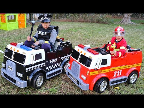 Children Play With Fire Truck And Police Truck ,funny Videos For Kids, Adel Et Sami