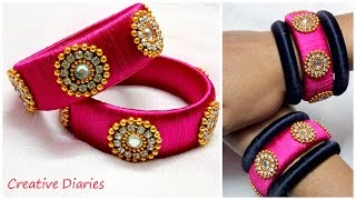 How to make Designer Silk Thread bangles at home I Latest Design I Creative Diaries