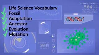 Life Science Vocabulary | Fossil-Adaptation-Ancestor-Evolution-Mutation |