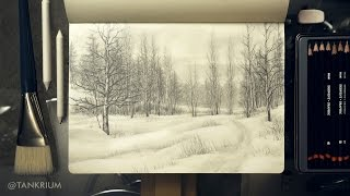 Speed Drawing: Pencil Landscape, Cool Drawings by TANKRIUM