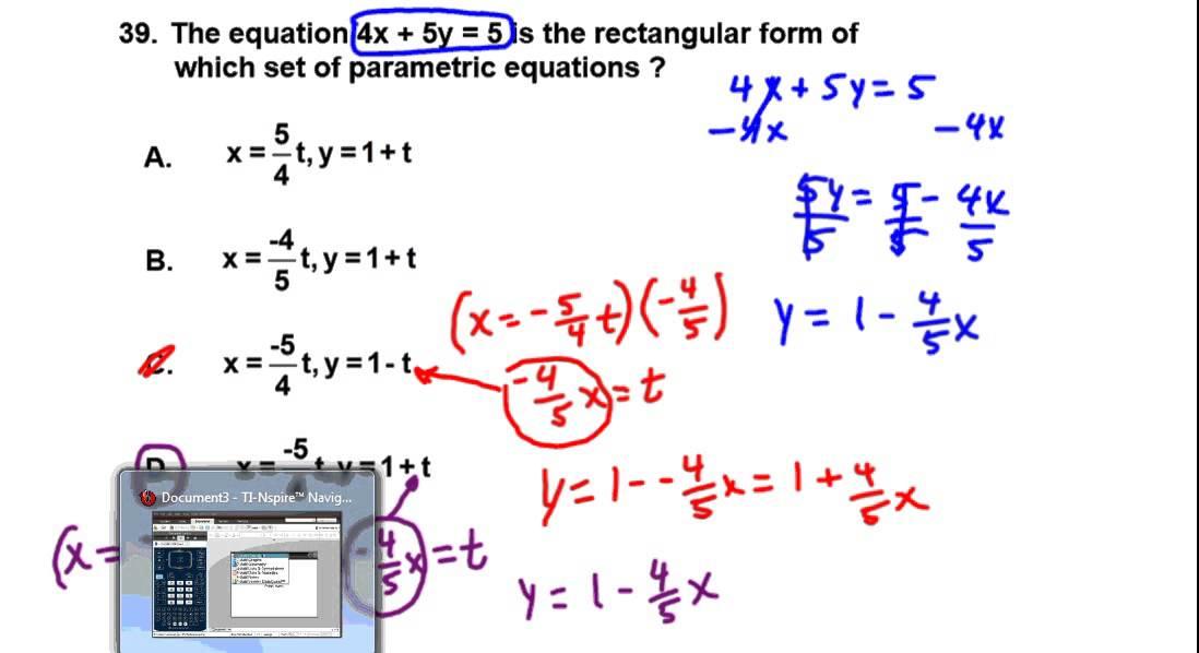 Precalculus Spring 2015 ACP Study Guide Problem 39 Challenging Parametric  Equation Problem