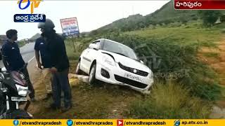 Car narrowly escapes From Accident at Haripuram