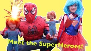 MEDINA TURNS INTO SUPERGIRL! CHUCKY SUPERGIRL SPIDERMAN WITH AMAZING FIRECRACKERS