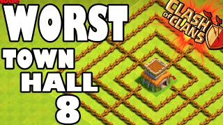 """WORLD'S WORST TOWN HALL 8!"" - Clash of Clans - GEMMING NEW BARRACKS + WALLS! This Base Sucks Ass"