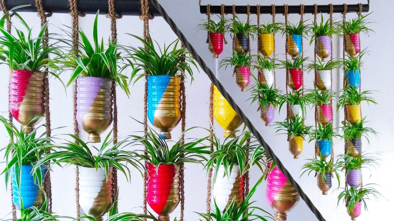 Great Way to Create Your Own Vertical Garden with House plants Using Plastic Bottles//GREEN PLANTS
