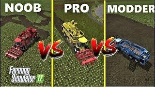 Farming Simulator 17 : NOOB vs PRO vs MODDER | BEET HARVESTING : Gameplay Comparison