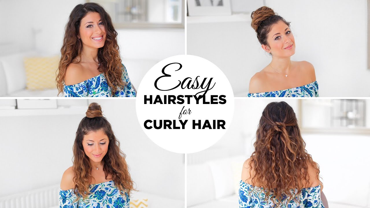 3 Easy Hairstyles For Curly Hair - YouTube