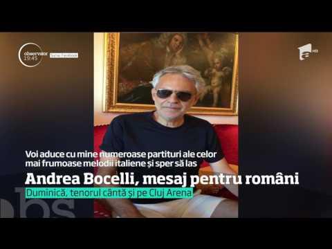 Andrea Bocelli, celebrul tenor, mesaj pentru români, înainte de concertele din București și Cluj