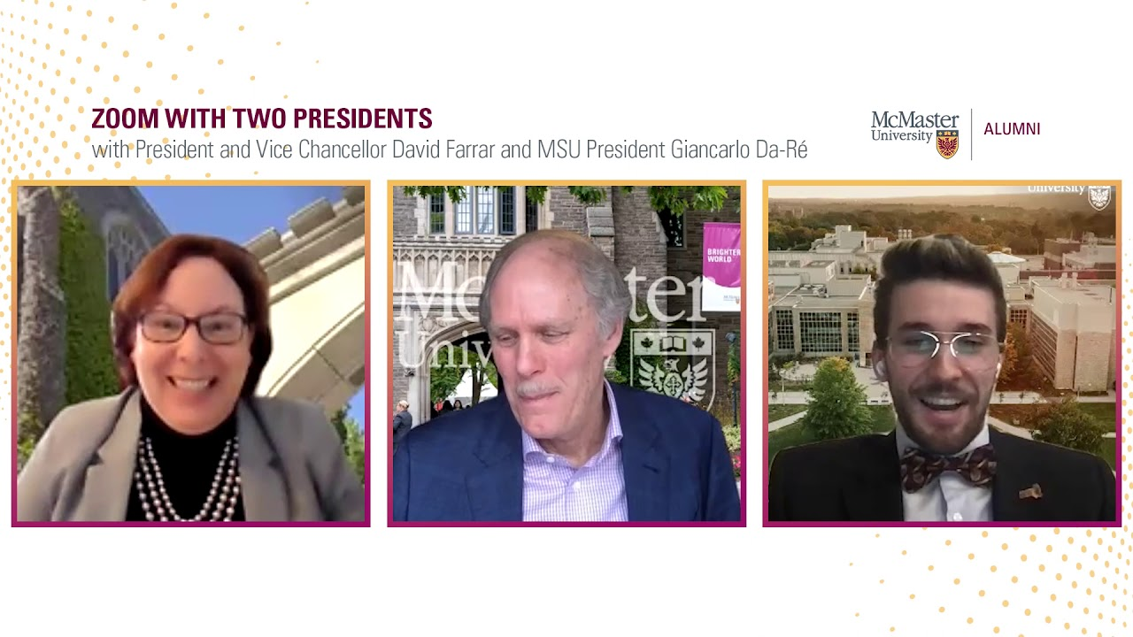 Image for Zoom with two Presidents: Mac President David Farrar and MSU President Giancarlo Da-Ré webinar