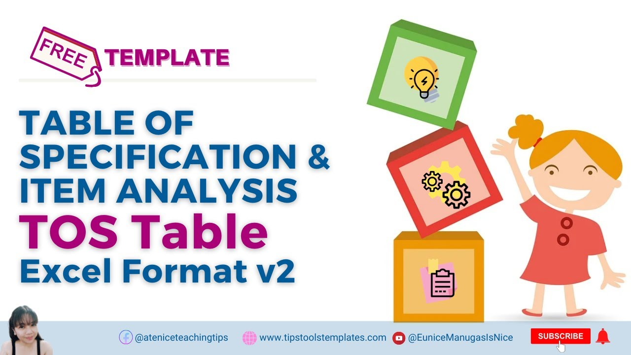 Table Of Specification And Item Analysis Tos Table Sample Template Excel Format V2 Youtube