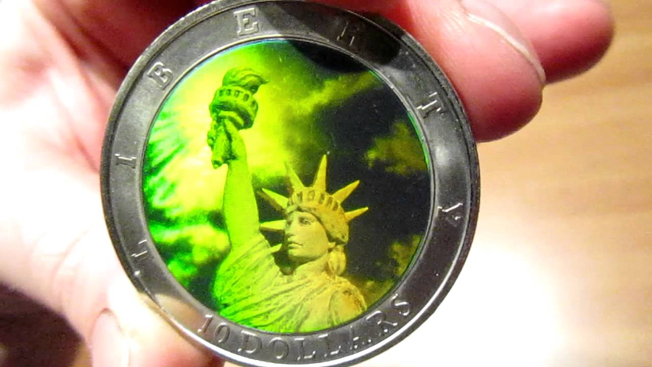 10 Dollar Coin Republic Of Liberia 2000 Holography Liberty Statue