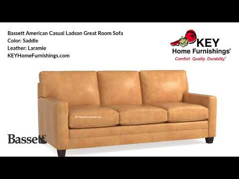 Bassett American Casual Ladson Sofa Leather Covers | Living Room Furniture Video | 2018