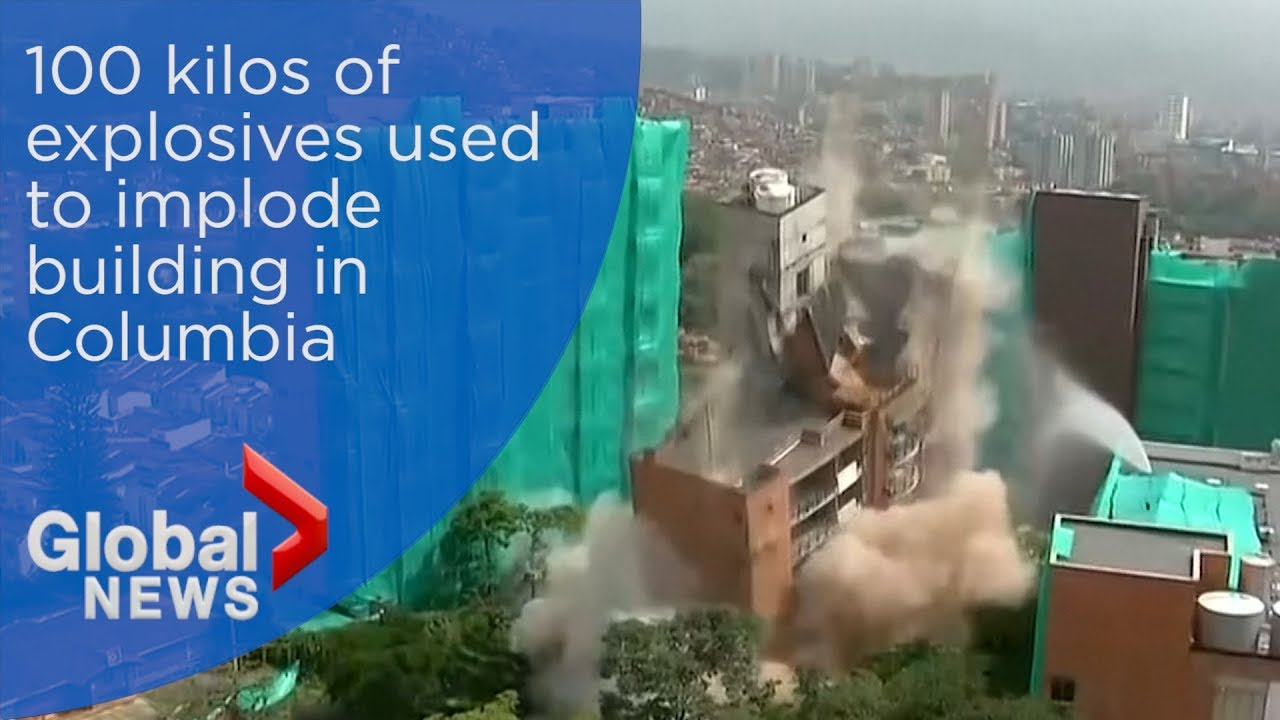 54-metre high building is imploded in Columbia