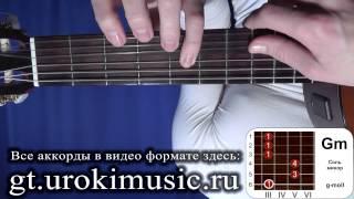 Аккорд Gm. Соль минор. g-moll. Позиция 3. Как играть на гитаре. Аккорды на гитаре urokimusic