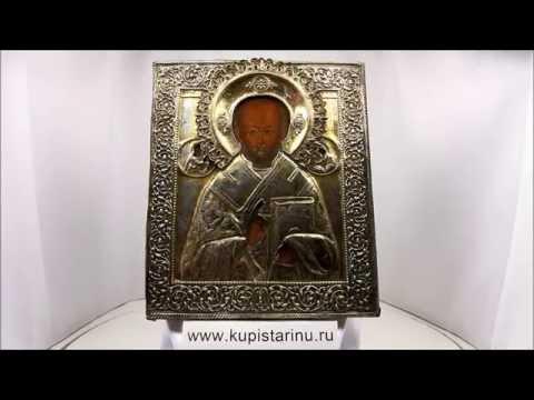 Купить дорогие иконы - Икона старинная Николай Чудотворец. DR0347